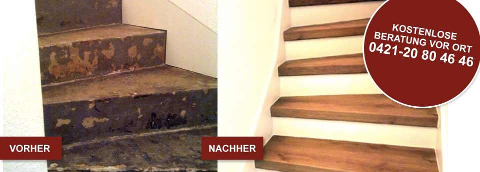 Vorher und Nacher Bild einer Treppensanierung